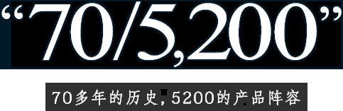 """""""70/5,200"""" 70多年的历史,5200的产品阵容"""