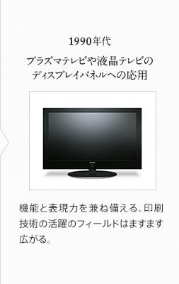 1990年代 プラズマテレビや液晶テレビのディスプレイパネルへの応用 機能と表現力を兼ね備える。印刷技術の活躍のフィールドはますます広がる。