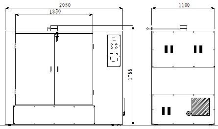 横型乾燥機MHD100120外形図