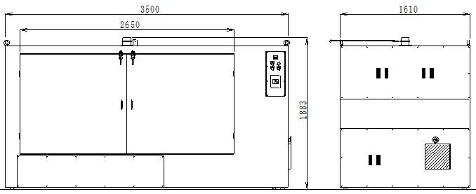 横型乾燥機MHD150250外形図
